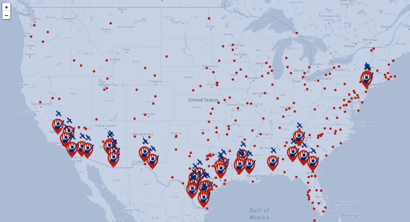 "A map by the artist project ""In Plain Sight"" shows immigrant detention centers in the U.S."