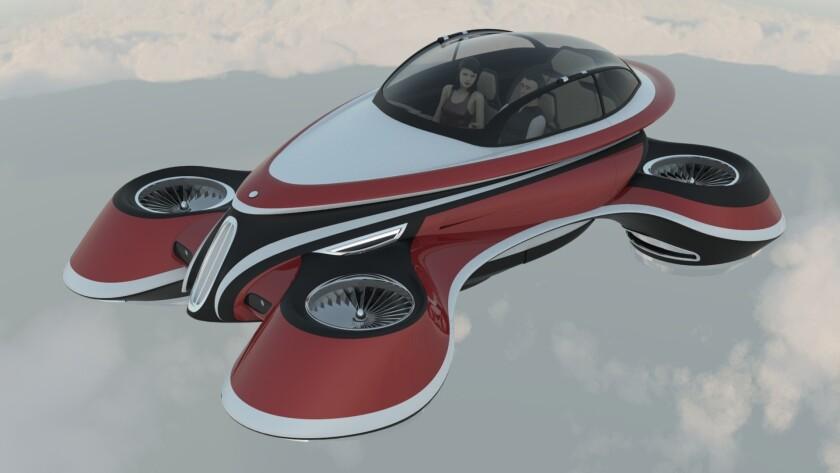 Un auto volador Italiano con diseño retro