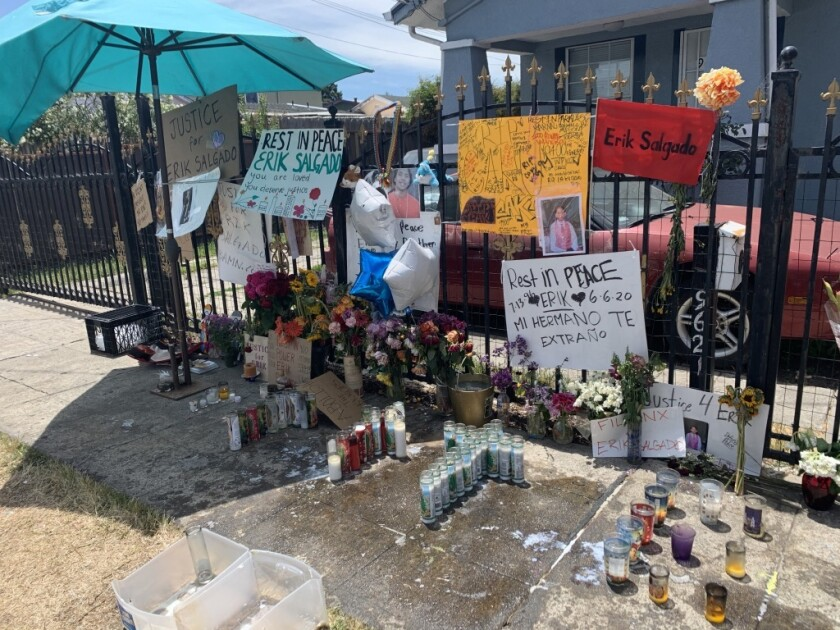 A memorial for Eric Salgado near where he was killed by CHP officers