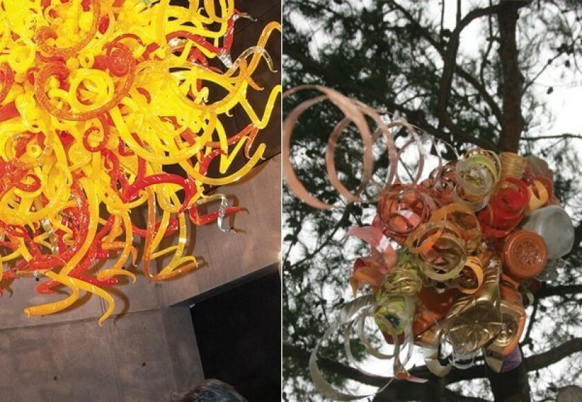 Dale Chihuly's Salk Institute installation (left) was the inspiration behind a trash-to-treasure display at the Del Mar Post Office (right).