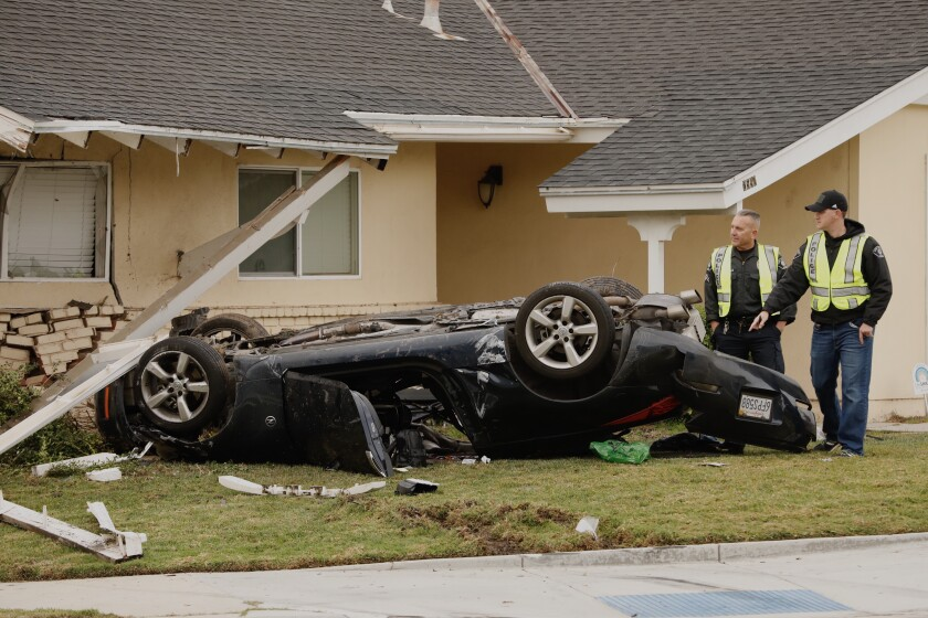 A car slammed into a home in Simi Valley early Tuesday