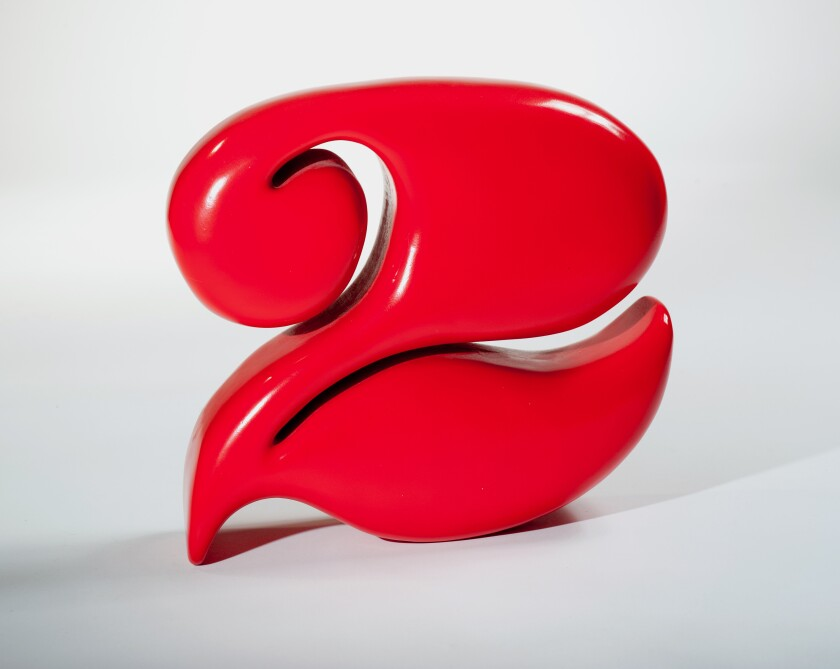 """""""Two,"""" 1965, carved redwood and enamel."""
