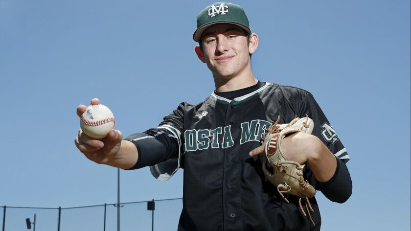 Costa Mesa High senior baseball player Cameron Chapman is the High School Male Athlete of the Week.