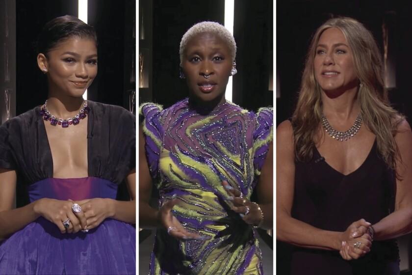 From left: Photos of Zendaya, Cynthia Erivo and Jennifer Aniston