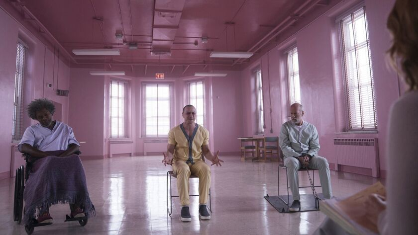 (L to R) SAMUEL L. JACKSON, JAMES MCAVOY, BRUCE WILLIS and SARAH PAULSON in Glass. M. Night Shyamal