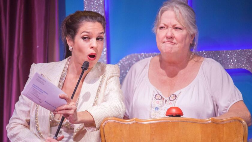 """Paula Christensen, left, and Bonnie Bailey-Reed in Rogue Machine's presentation of Deb Hiett'€™s """"The Super Variety Match Bonus Round!"""" The theater's leader is worried that new wage rules will hurt small theaters."""