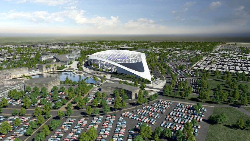 An artists rendering of the Rams new stadium. Southeast view in Inglewood, CA