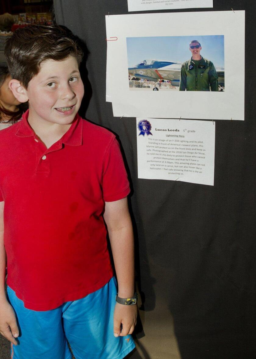 """5th grader Lucas Leeds with his entry """"Lightening Hero"""""""