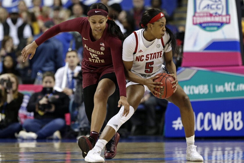 Florida State forward Kiah Gillespie (15) reaches in as North Carolina State forward Jada Boyd (5) controls the ball during the first half of an NCAA college basketball championship game at the Atlantic Coast Conference women's tournament in Greensboro, N.C., Sunday, March 8, 2020. (AP Photo/Gerry Broome)