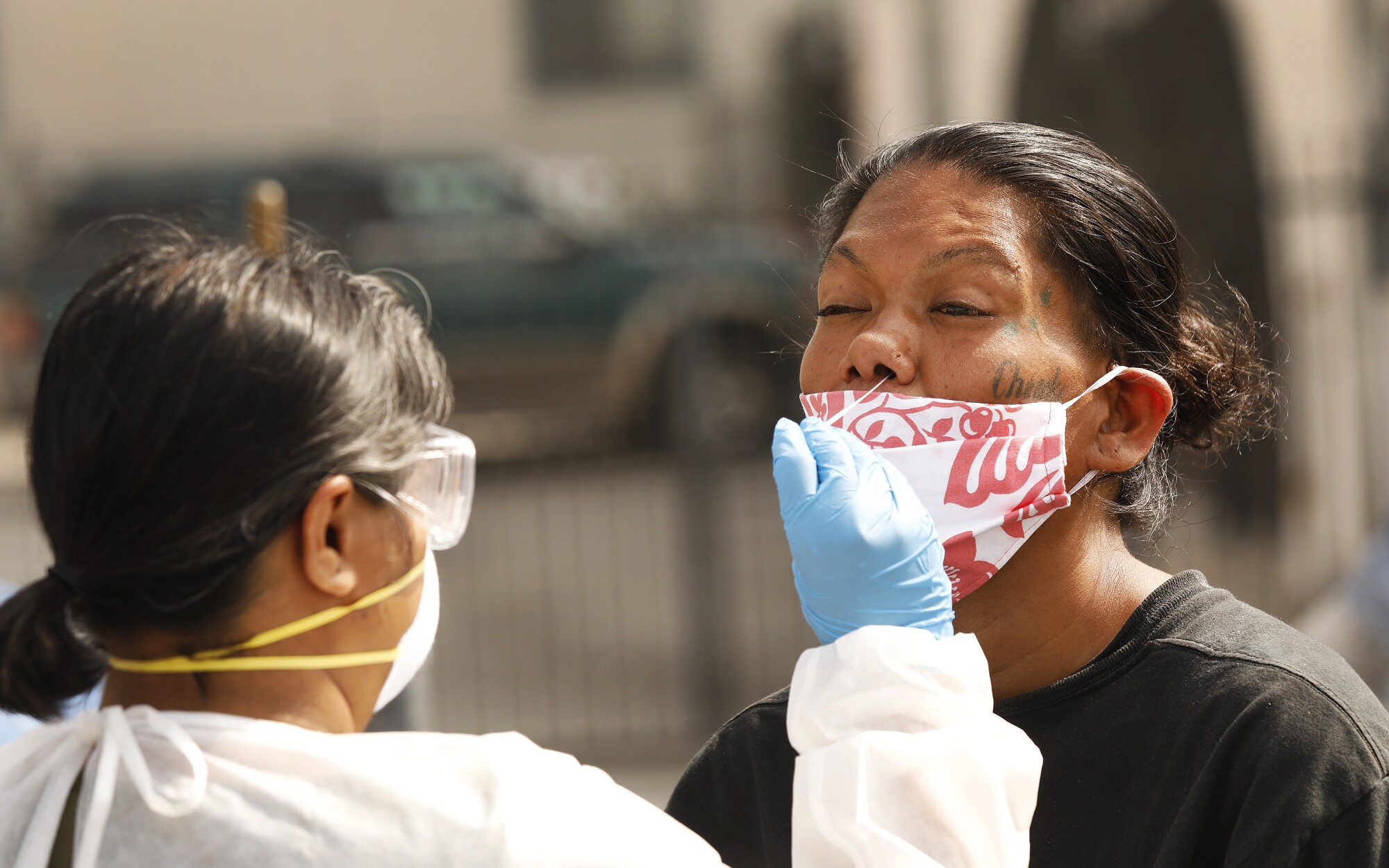 Fatima, who is homeless and living on skid row in downtown Los Angeles, gets tested for the coronavirus