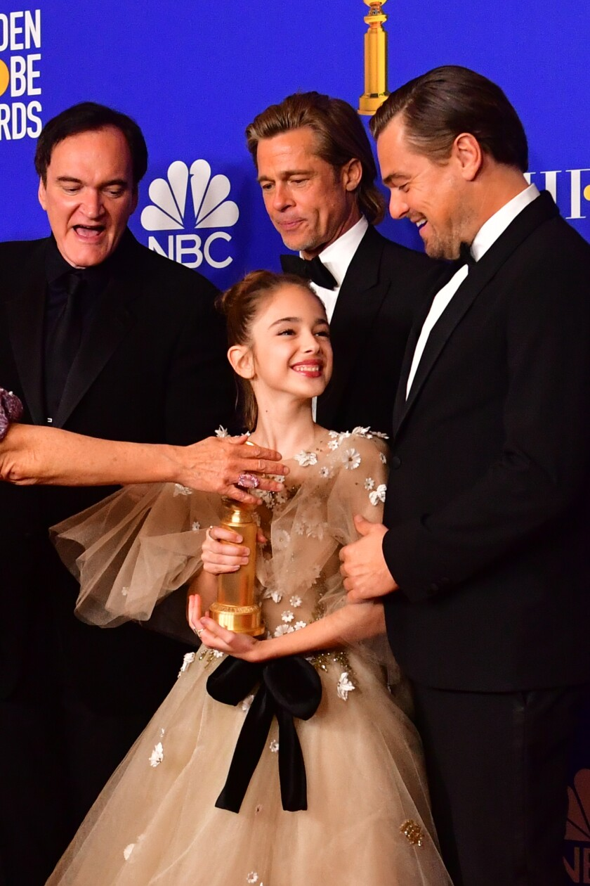 Quentin Tarantino, Brad Pitt, Leonardo DiCaprio, Julia Butters at the Golden Globes.