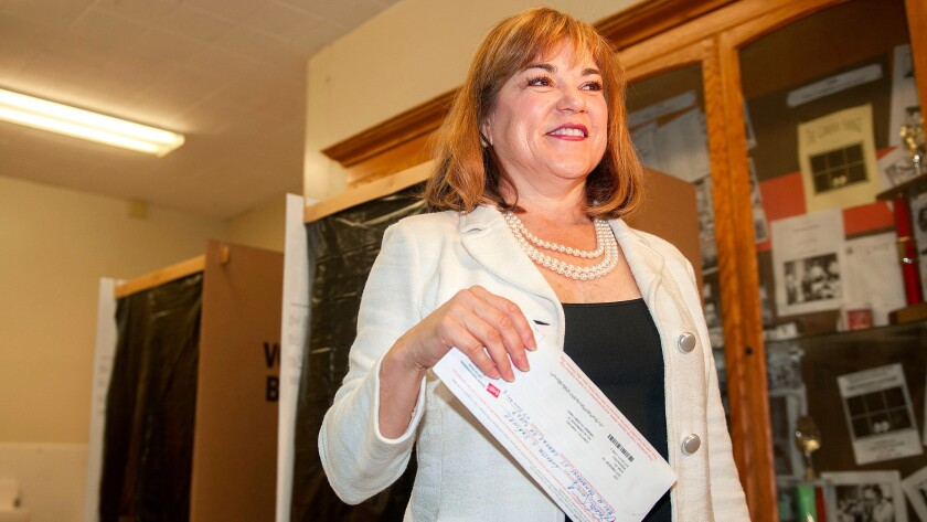 Rep. Loretta Sanchez (D-Orange), a candidate for the U.S. Senate, casts her ballot on June 7.
