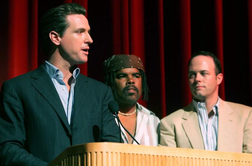 Gov. Gavin Newsom, then San Francisco mayor, movie directors Mike Shaw and Geoff Callan