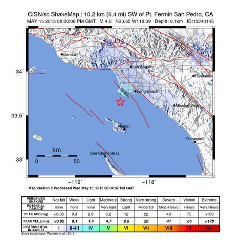 A map showing the earthquake that hit near Palos Verdes.