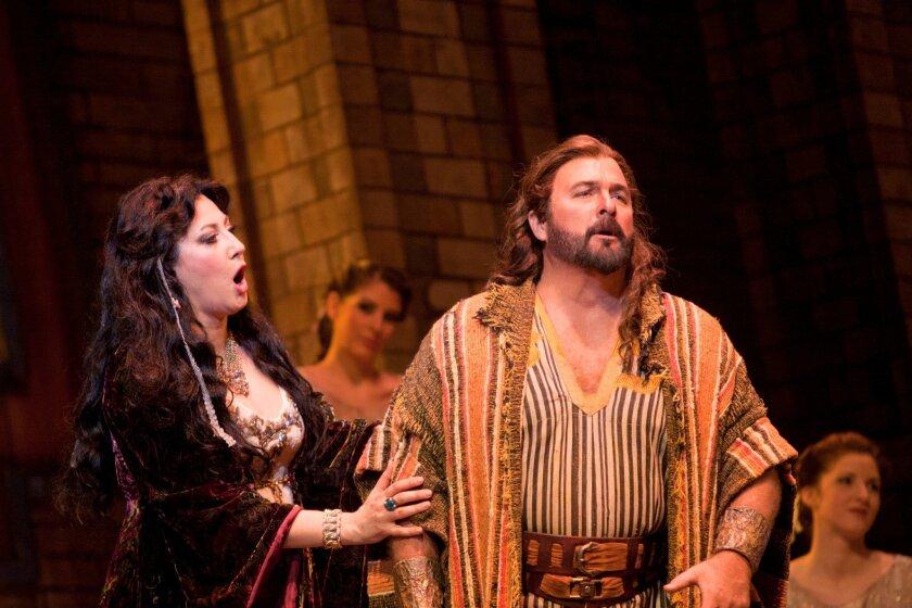 """Mezzo soprano Nadia Krasteva is Delilah and tenor Clifton Forbis is Samson in San Diego Opera's """"Samson and Delilah."""""""