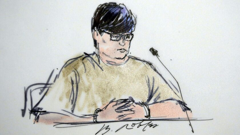Enrique Marquez appears in federal court in Riverside in this Dec. 17, 2015, courtroom sketch. He is schedules to be sentenced later this month in connection with the San Bernardino terror attack.
