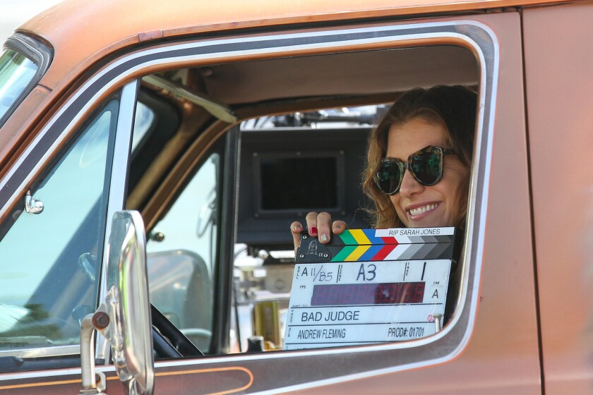 """Kate Walsh is ready for a scene in the TV movie """"Bad Judge,"""" filming in Los Angeles."""