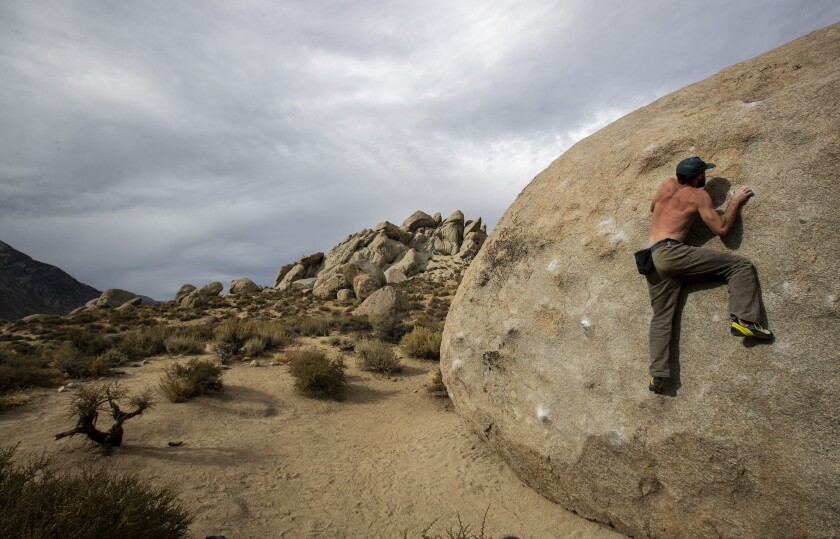 A climber scales a boulder in the Buttermilks, a popular climbing area in Bishop, Calif.