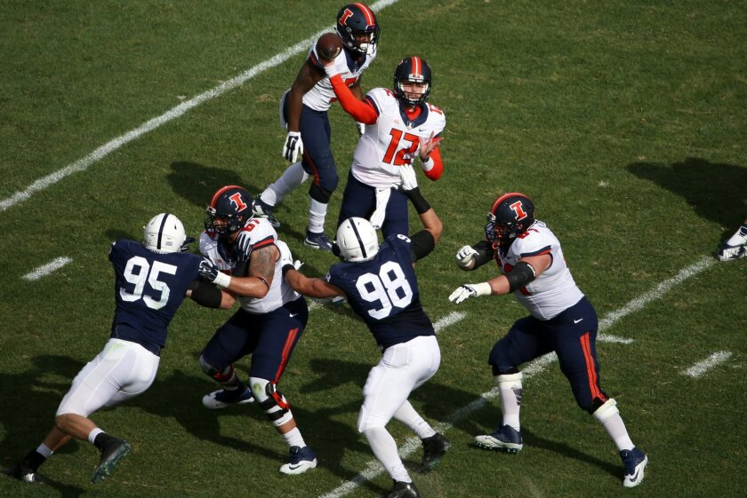 Illinois quarterback Wes Lunt (12) throws a pass during the first half of an NCAA college football game against Penn State in State College, Pa., Saturday, Oct. 31, 2015. (AP Photo/Gene J. Puskar)