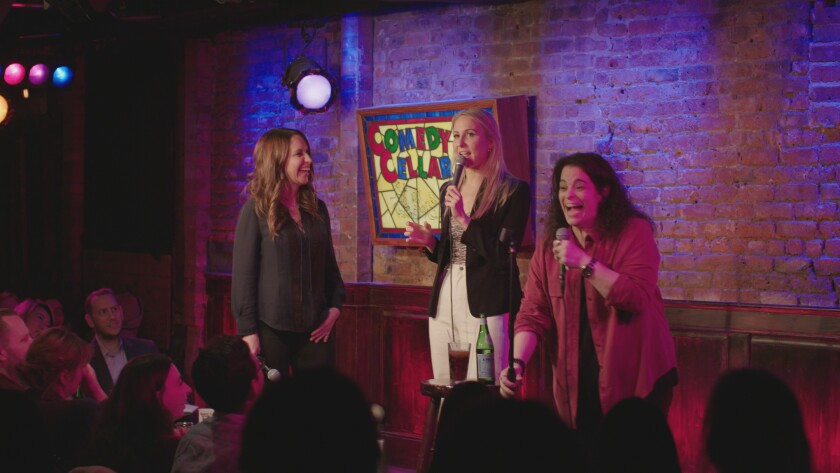 "Rachel Feinstein (left), Nikki Glaser and Jessica Kirson share the stage in a scene from ""Hysterical,"" a new FX documentary."