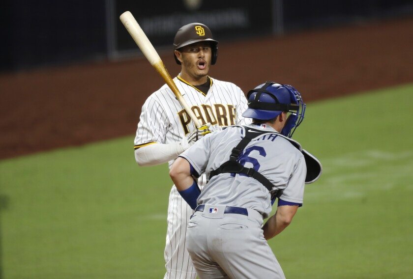Manny Machado reacts to a strike call from umpire Mark Ripperger (not pictured) in Wednesday's game.