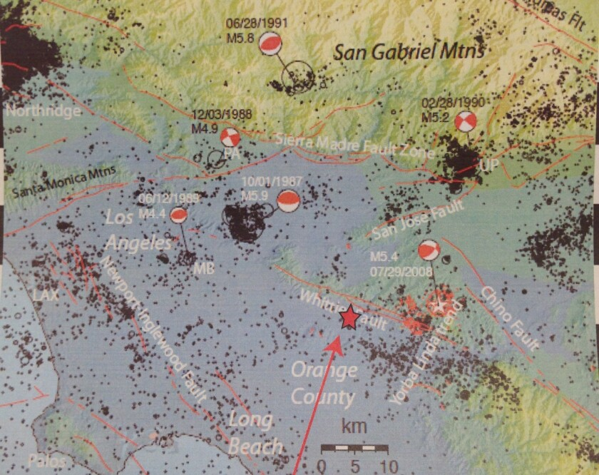 Map shows location of Friday's 5.1 temblor in relation to past earthquakes.