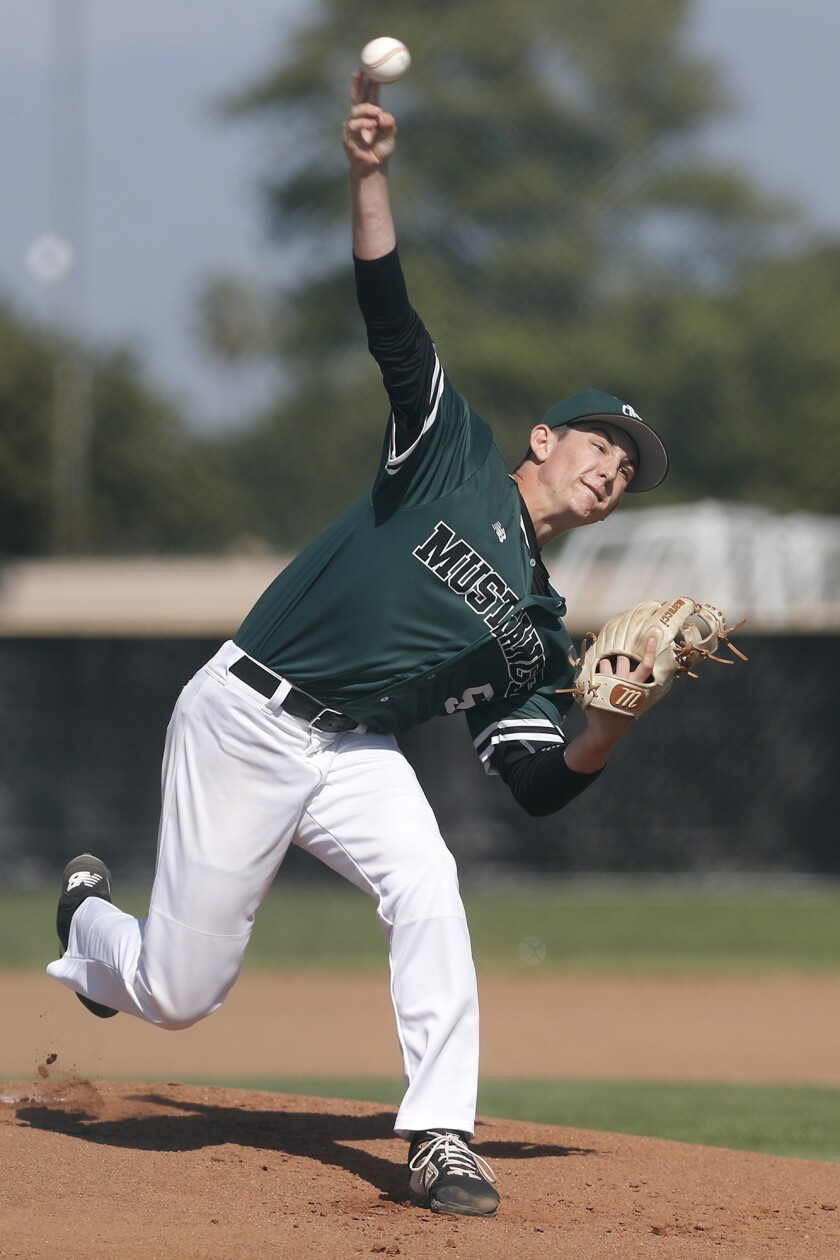 Costa Mesa High starter Cameron Chapman throws against Estancia in the first inning during an Orange