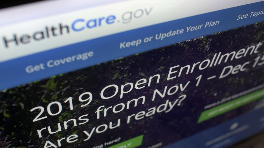 FILE - This Oct. 23, 2018 file photo shows HealthCare.gov website on a computer screen in New York.