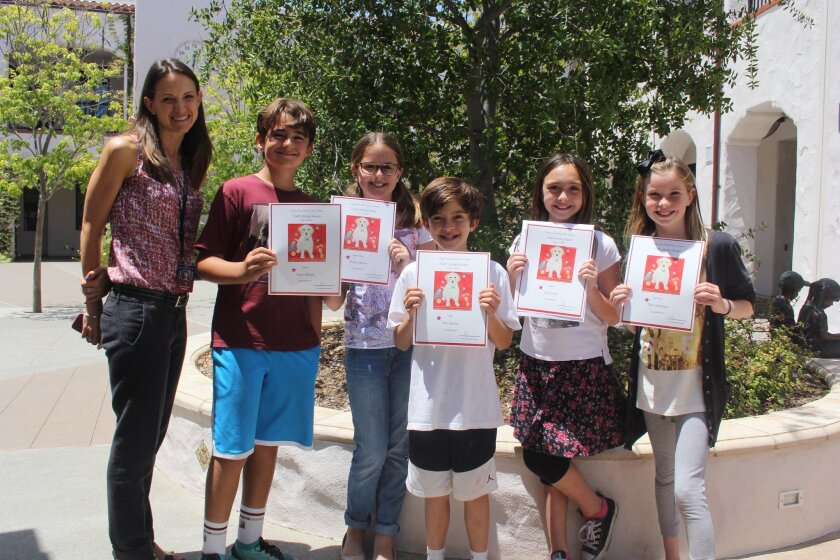 Grades 3-5 essay finalists, L-R: Logan Johnson, Charlie Johnson, Nick Sanford, Sofie Brown, Nikki Hemminger. Not pictured: Ava Rose Wehlage