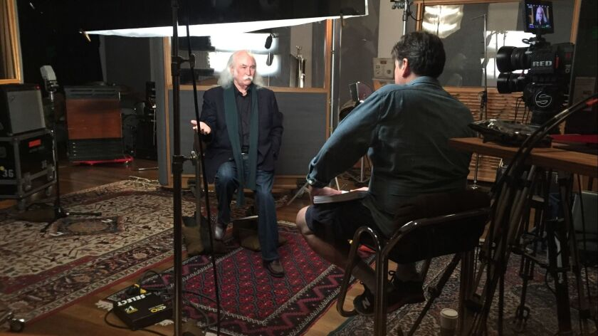 David Crosby is photographer being interviewed by Cameron Crowe for an upcoming documentary. (BMG)