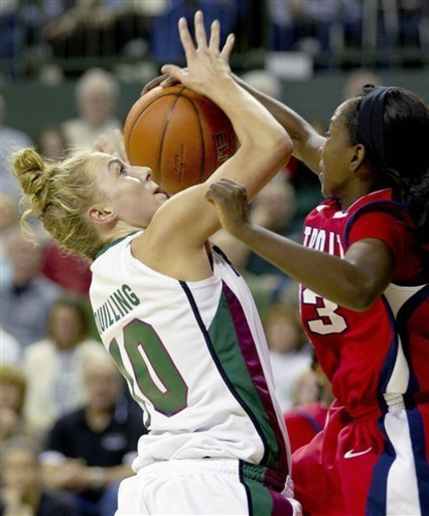 Detroit's Senee Shearer, left, blocks a shot by Wisconsin-Green Bay's Hannah Quiling during the first half of an NCAA college basketball game on Thursday Feb. 9, 2012, in Green Bay, Wis. (AP Photo/Mike Roemer)