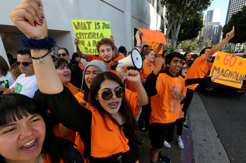 Students and staff from Magnolia Science Academy 3, a charter school in Carson, demonstrate outside LAUSD headquarters in downtown Los Angeles on Tuesday.