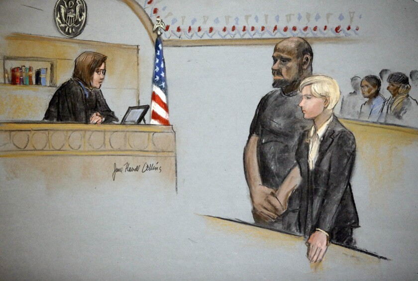 In this courtroom sketch, David Wright is depicted standing with his attorney Jessica Hedges as Magistrate Judge M. Page Kelley presides during a hearing Wednesday in federal court in Boston.