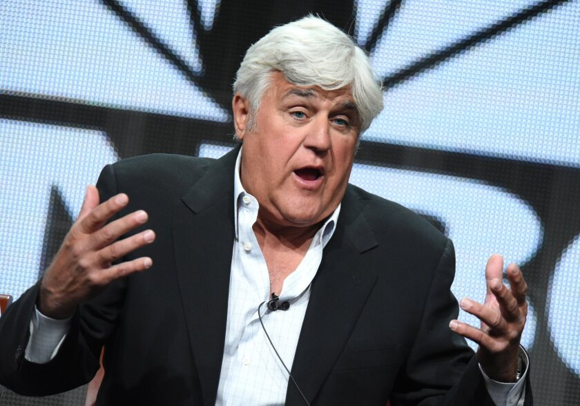 Jay Leno talks at the TV press tour in Beverly Hills.