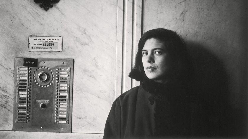 "A photograph of Susan Sontag, 1959 featured in the book ""Duane Michals: Portraits."" Credit: Duane Mi"