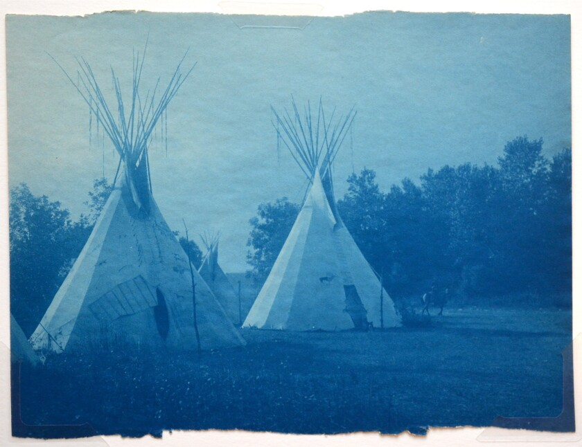 A never-published cyanotype print by Edward Curtis captures Cheyenne tipis in the early days of the 20th century.