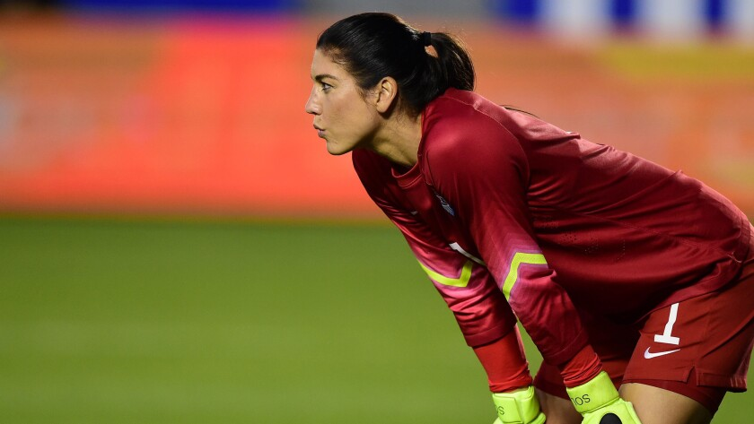U.S. goalkeeper Hope Solo looks on during a 5-1 victory over Mexico in an international friendly at StubHub Center in Carson on May 17, 2015.