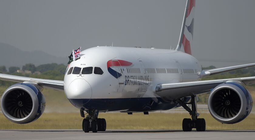 British Airways operates up to 850 flights a day. A British Airways plane is shown.