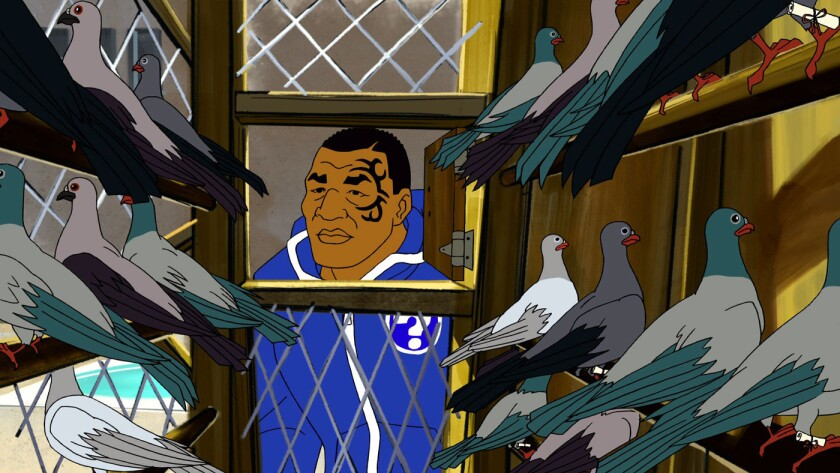 """Ex-boxer Mike Tyson (voice of Mike Tyson) considers the carrier pigeons who have brought him cries for help in the retro-ironic """"Mike Tyson Mysteries,"""" a new series on Adult Swim."""