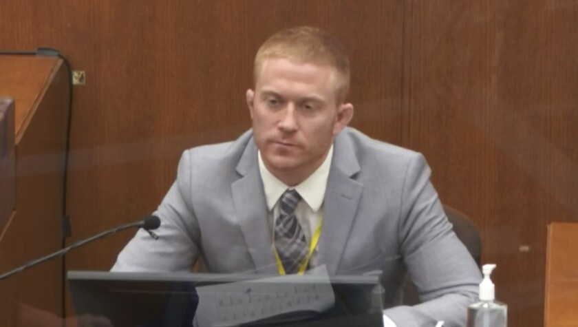 In this image from video, witness Derek Smith answers questions as Hennepin County Judge Peter Cahill presides Thursday, April 1, 2021, in the trial of former Minneapolis police Officer Derek Chauvin at the Hennepin County Courthouse in Minneapolis, Minn. Chauvin is charged in the May 25, 2020 death of George Floyd. (Court TV via AP, Pool)