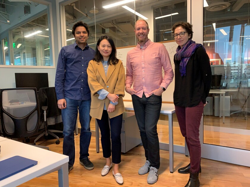 XOKind's founding team from left to right: Arjun Bansal, CEO; Yinyin Liu, CTO; Scott Leishman, vice president of engineering; and Sarah Harris, head of product.