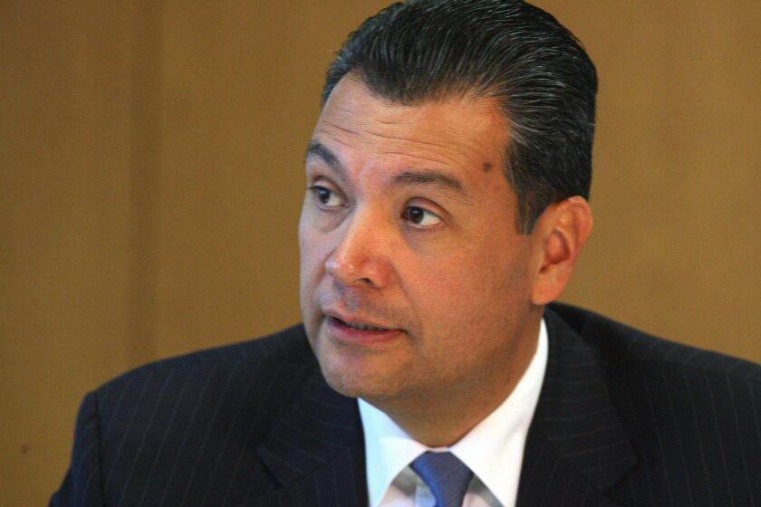 SAN DIEGO, CA-DEC 2, 2015: California Secretary of State Alex Padilla in a Union-Tribune Editorial Board meeting  on Wednesday, Dec. 2, 2015. JOHN GIBBINS / San Diego Union-Tribune)