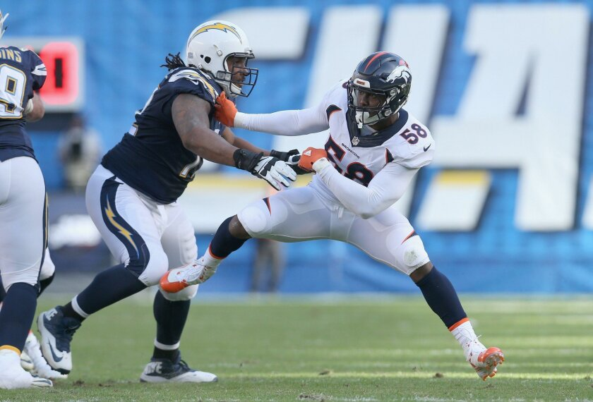 SAN DIEGO, CA - DECEMBER 06:  Linebacker Von Miller #58 of the Denver Broncos battles tackel Joe Barksdale #72 of the San Diego Chargers at Qualcomm Stadium on December 6, 2015 in San Diego, California.  (Photo by Stephen Dunn/Getty Images) ** OUTS - ELSENT, FPG, CM - OUTS * NM, PH, VA if sourced b