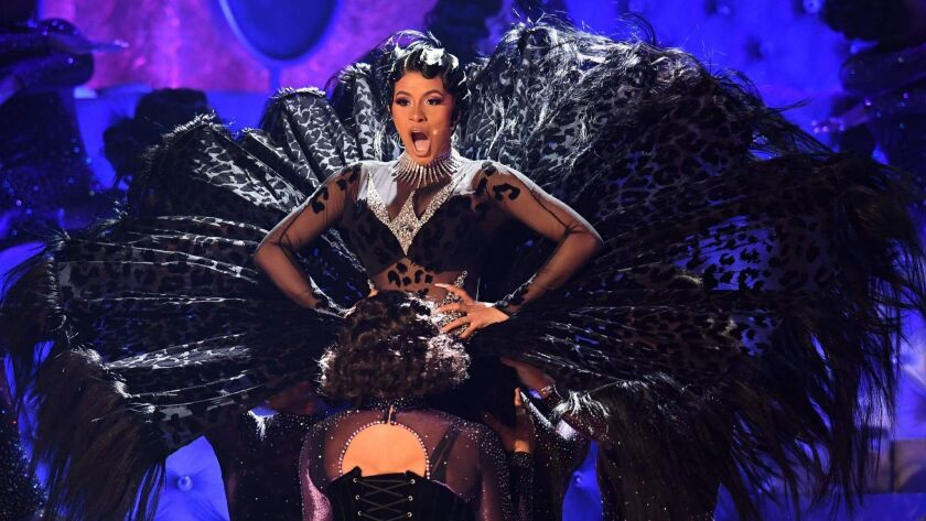 Cardi B performs at the 61st Grammy Awards on Sunday.
