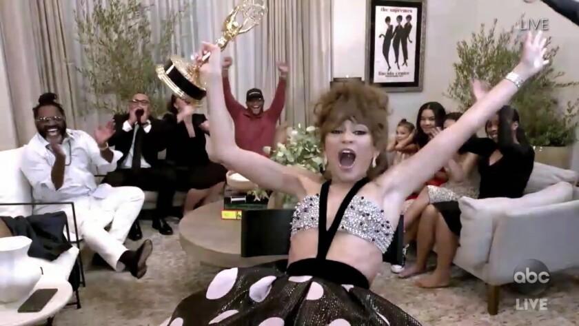 Zendaya celebrates her Emmy win.