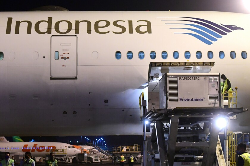 In this photo released by Indonesian Presidential Palace, workers unload a container containing experimental coronavirus vaccines made by Chinese company Sinovac from the cargo bay of a Garuda Indonesia plane at the Soekarno-Hatta International Airport in Tangerang, Indonesia, late Sunday, Dec. 6, 2020. Indonesia's government said more than a million doses of an experimental COVID-19 vaccine developed by China-based biopharmaceutical company Sinovac Biotech arrived in the country late Sunday and more are expected to arrive in early January. (Indonesian Presidential Palace via AP)