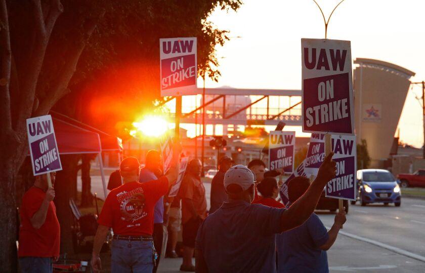 General Motors (GM) workers on strike, Arlington, USA - 17 Sep 2019
