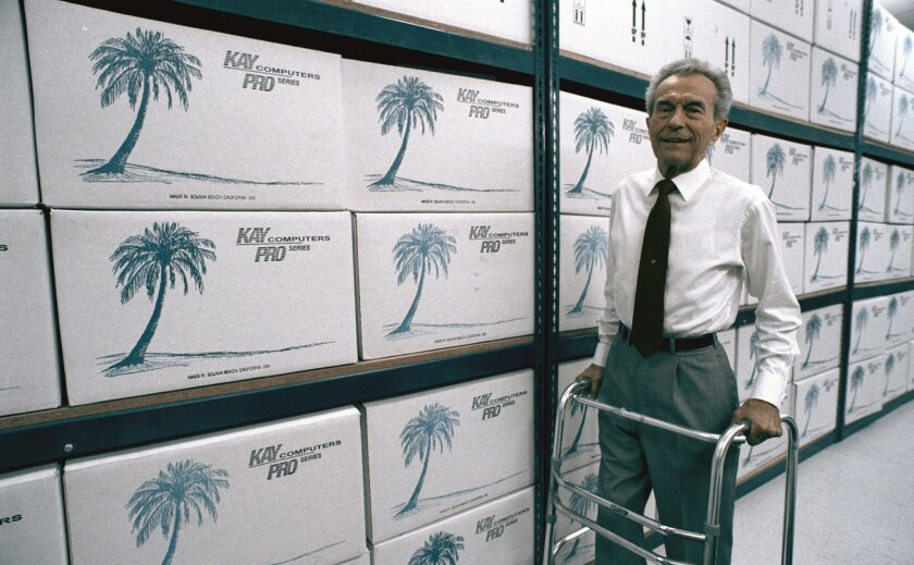 Computer industry pioneer Andy Kay show here in a file photo at Kay Computers. Kay died Aug. 28 at the age of 95.