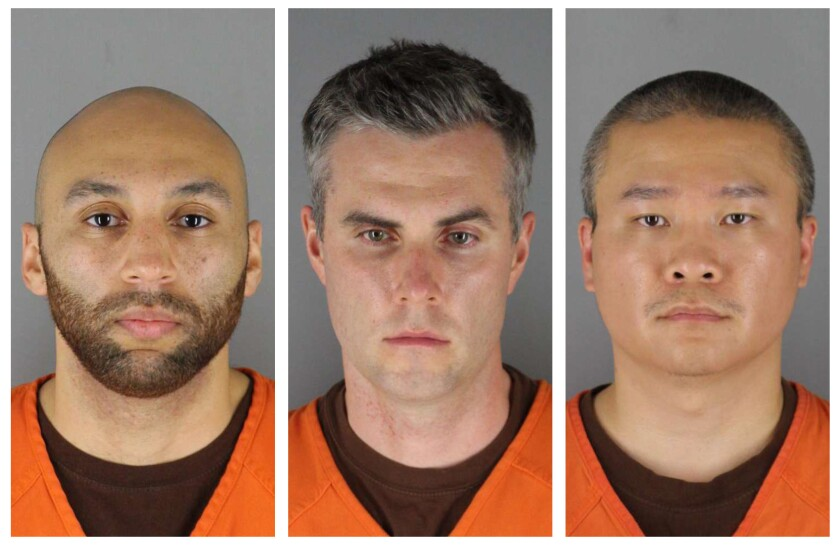 HOLD FOR STORY MOVING OVERNIGHT — FILE — This combination of photos provided by the Hennepin County Sheriff's Office in Minnesota on Wednesday, June 3, 2020, shows from left, Minneapolis Police Officers J. Alexander Kueng, Thomas Lane and Tou Thao. Attorneys for two former Minneapolis police officers charged with aiding and abetting murder in the death of George Floyd are asking a judge to bar their clients' upcoming trial from being livestreamed, saying some witnesses won't testify if the proceedings are broadcast. (Hennepin County Sheriff's Office via AP, File)