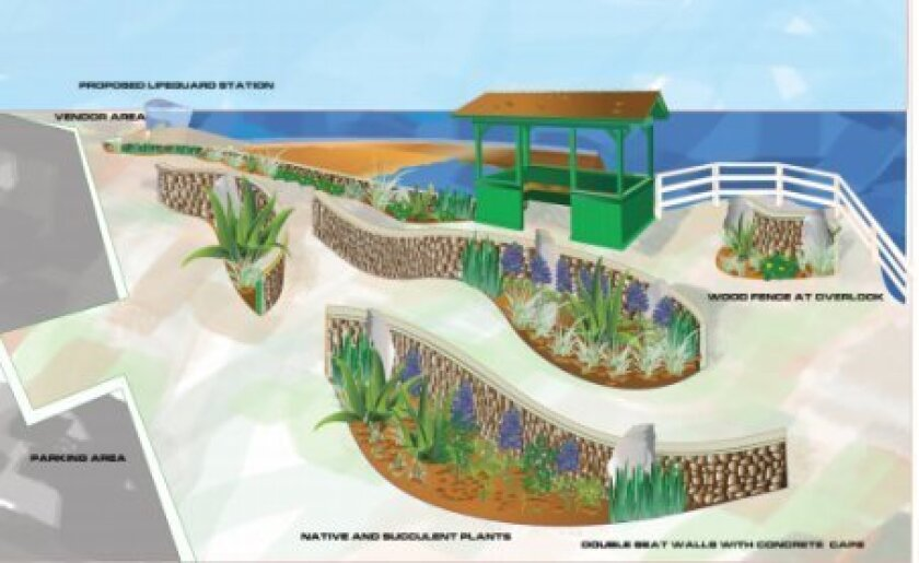 One of the items that made La Jolla's capital improvement funding list for fiscal year 2014, was this proposed beautification of the Coast Boulevard sidewalk near Children's Pool. The city did not approve the project for funding, and La Jolla Parks & Beaches, Inc. is earnestly trying to raise t
